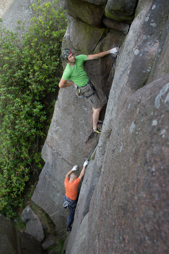 Andi and Pete soloing Rhodren at the Roaches, 145 kb