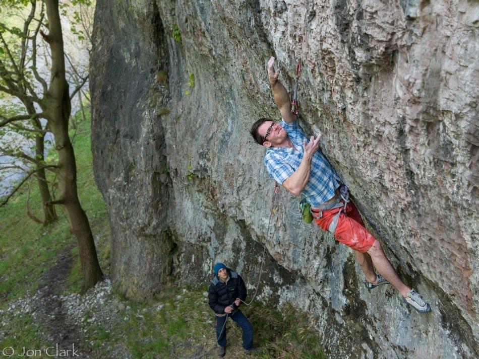 Ethan making the 4th ascent of Karma Killer, 8b, 196 kb