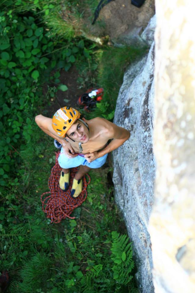 Franco Cookson about to embark on his route Psykovsky's Sequins (E10 7a), 81 kb