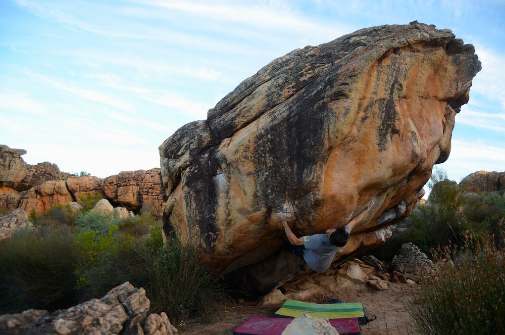 Niccolò Ceria on Derailed, ~8B, Rocklands, South Africa, 134 kb