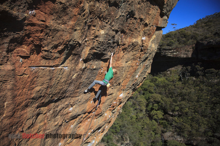 Alexander Megos attempting Retired Extremely Dangerous (9a) the day before his succesful ascent, 214 kb