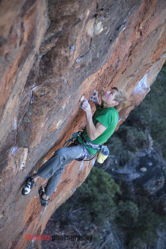 Alexander Megos attempting Retired Extremely Dangerous (9a) the day before his succesful ascent, 149 kb
