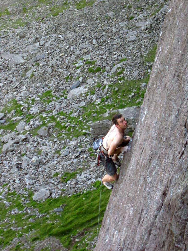James McHaffie edging his way up on the fifth ascent of The Indian Face, 146 kb