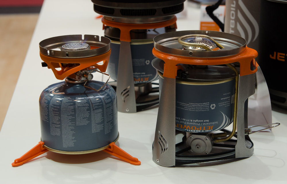 Jet Boil Stove - the Sumo on the left and the new inverted Joule stove on the right, 137 kb