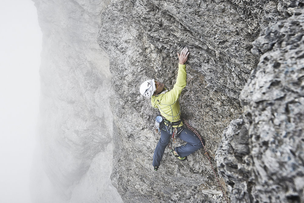 Roger Schäli on the first free ascent of the Ghilini-Piola, Eiger N Face, 225 kb