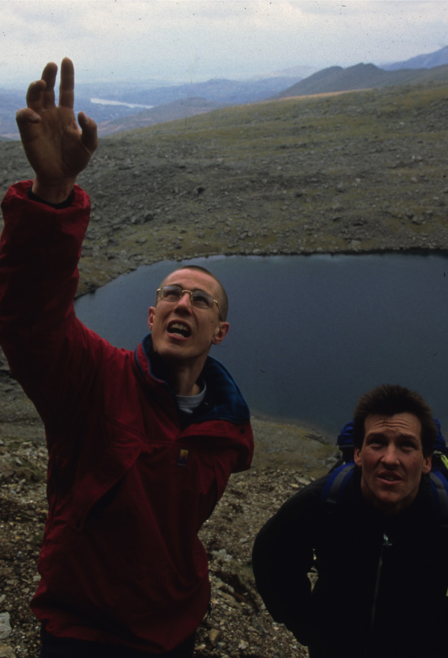 Neil Gresham and Johnny Dawes discuss Indian Face at the base of the cliff, 162 kb