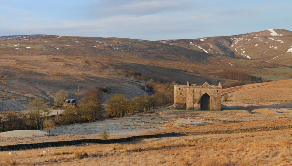Hermitage Castle from east at daybreak, 120 kb