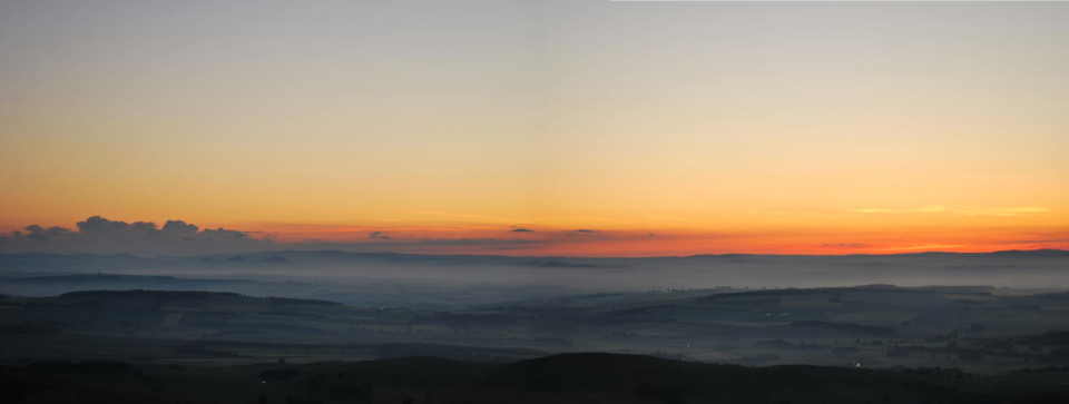 Sunset from a bivvy bag on the Cheviots, looking north into Scotland, 124 kb