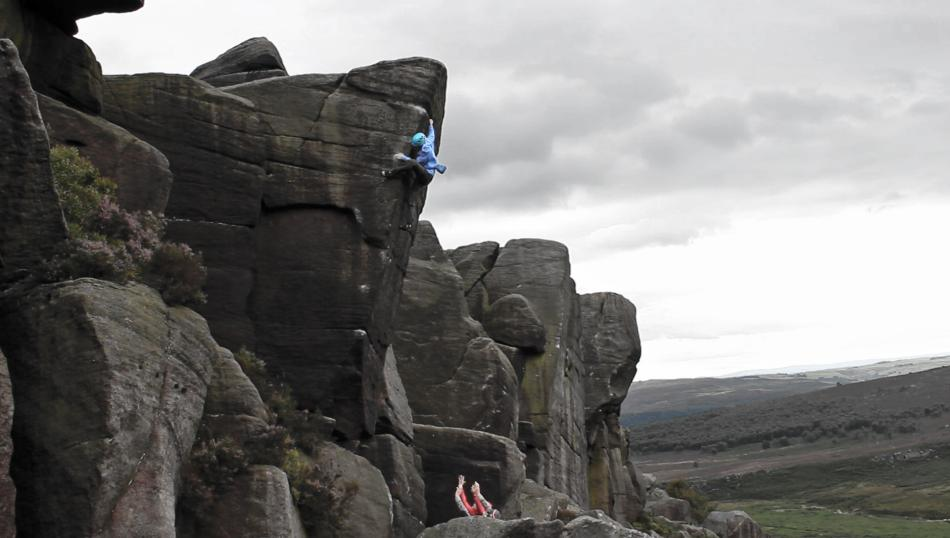 Oli setting up for the final moves on Simba's Pride, E8 6b, 52 kb