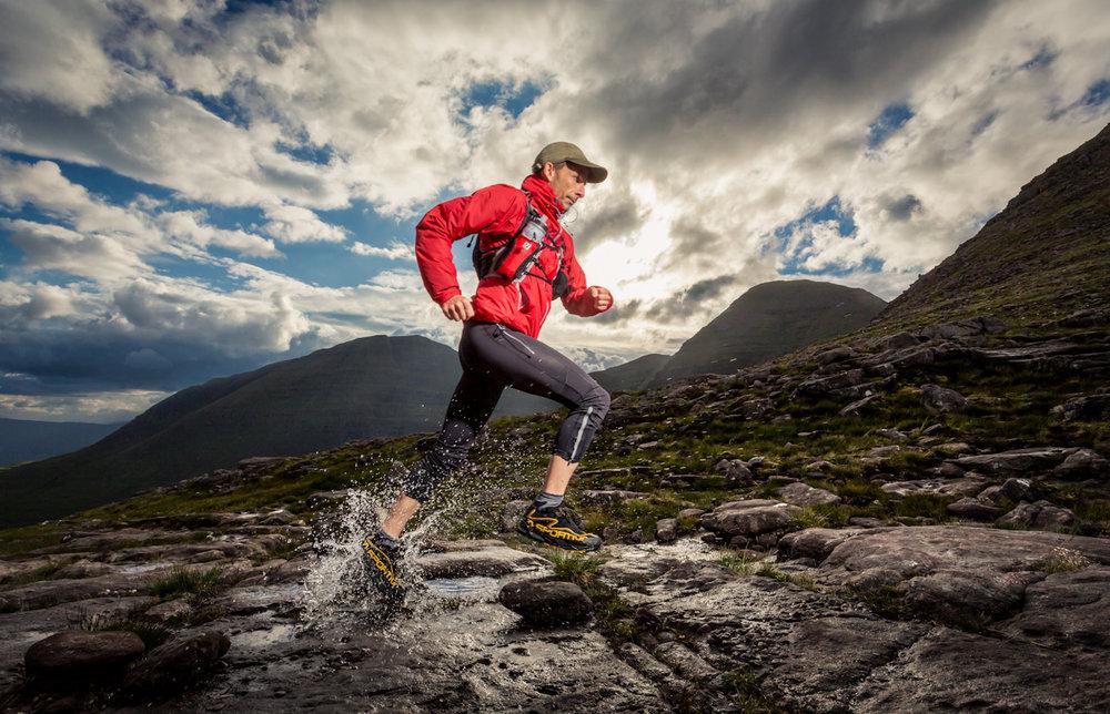 Trail running on Benn Alligin ,Wester Ross, shot as a commission for Trail Running magazine , 214 kb