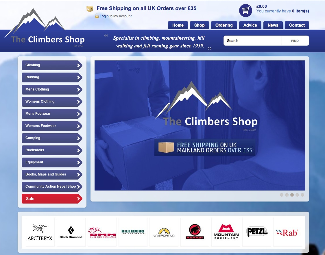 New Climbers Shop web site, 193 kb