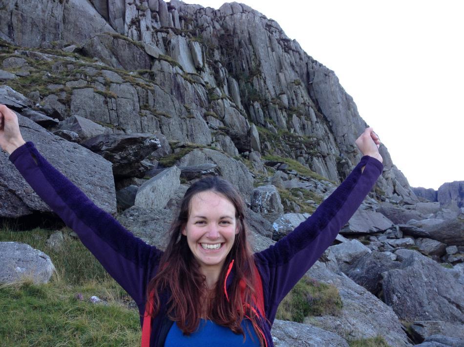 Emma celebrating her successful ascent of Rare Lichen, 116 kb