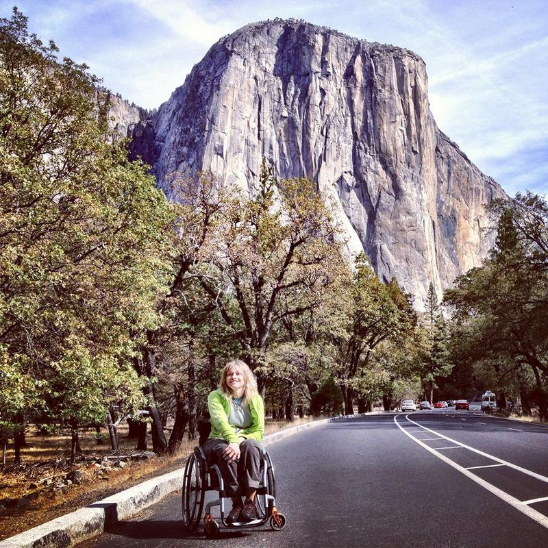 Vanessa below the giant wall of El Capitan, 209 kb