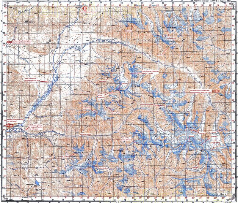 Soviet military map of Muzkol range, Pamir mountains, Tajikistan., 224 kb