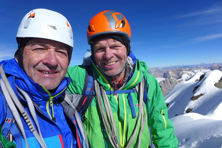 Paul Ramsden (left) and Mick Fowler on the summit of Kishtwar Kailash, 104 kb
