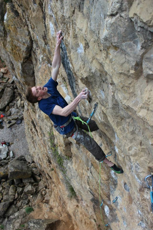 Ellis Butler-Barker fighting the greasy crux on Brean Topping, 8b, 112 kb