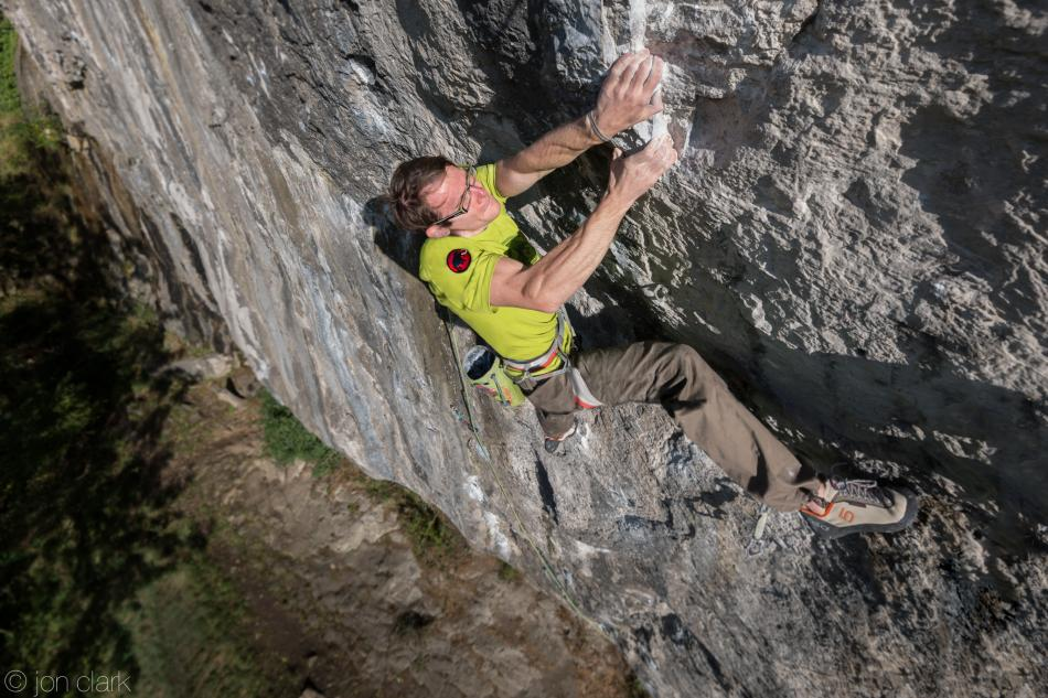 Ethan Walker on his first 8c, Mecca Extension, Raven Tor, 116 kb