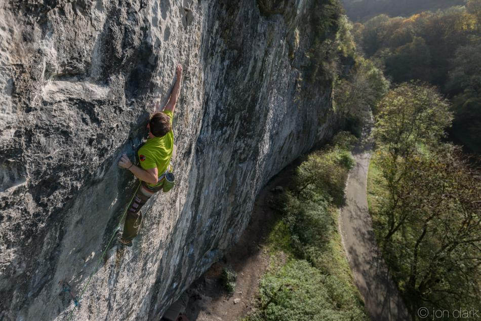 Ethan Walker high on Mecca Extension, 8c, Raven Tor, 126 kb