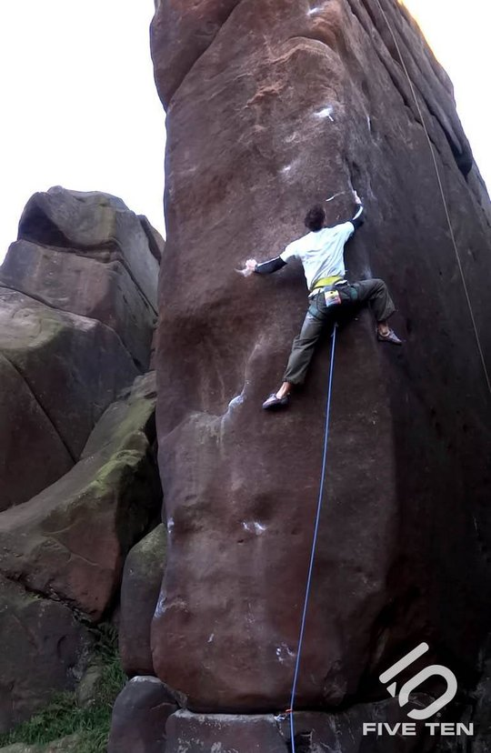 David Mason on the crux lower section of Meshuga, E9 6c, 68 kb