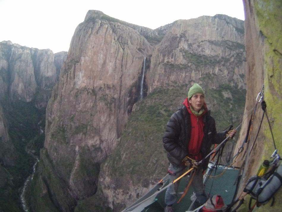 Cecilia Buil on the portaledge mid-way up Tehue, El Gigante, 78 kb