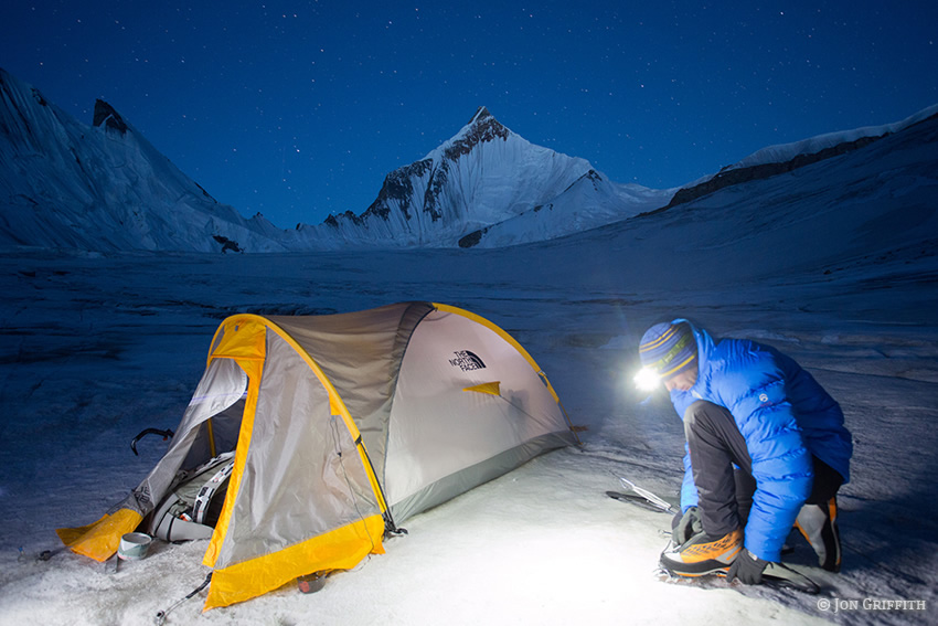 Andy Houseman using a Black Diamond Storm Headlamp in the Charakusa Valley, Pakistan, 176 kb