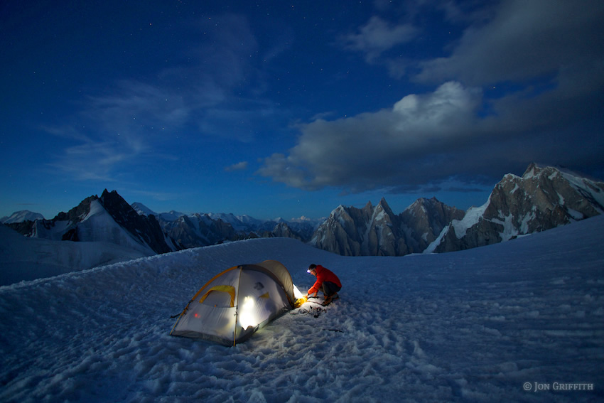 Jon Griffith using a Petzl Tikka XP2 in the Charakusa Valley, Pakistan, 132 kb