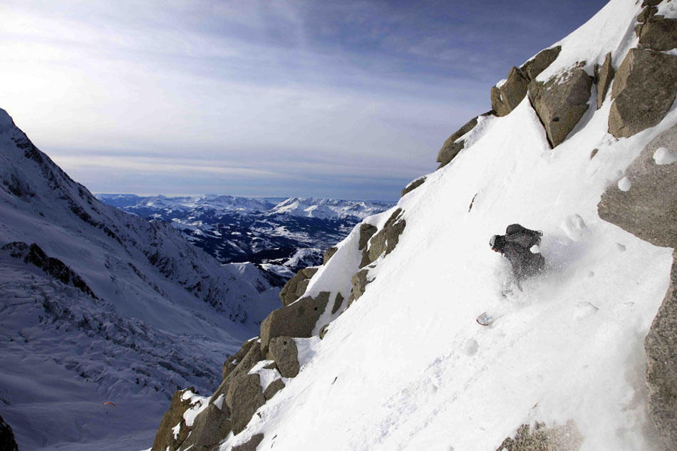 Matt Perrier charges the fall line on Cosmiques Couloir, Mont Blanc, France. , 114 kb