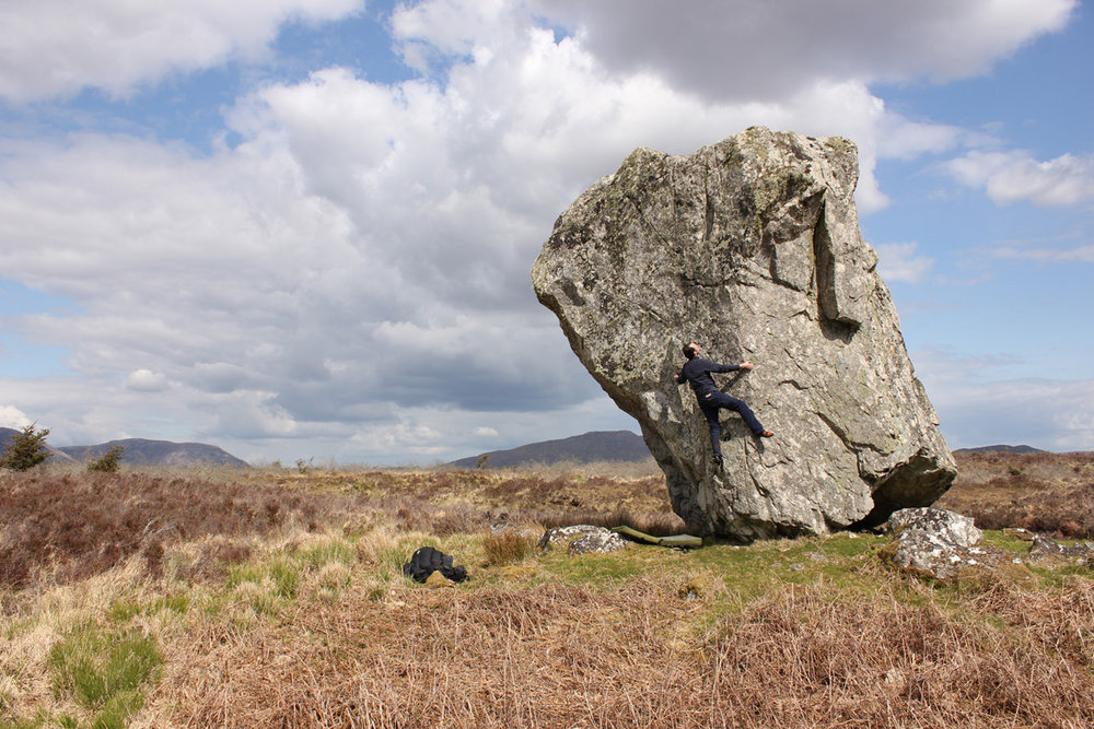 The views are usually better outdoors. Peter McMahon on The Chief, Derryrush, Galway, Ireland. Photo by David Flanagan, 202 kb