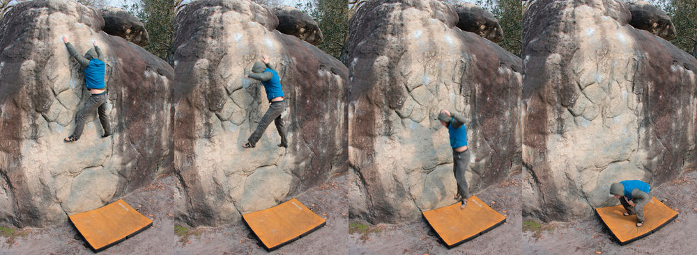 Soaking up the impact of a fall with the legs. Diarmuid Smyth greasing off Marie Rose, Cuvier, Fontainebleau. Photo by David Fl, 128 kb