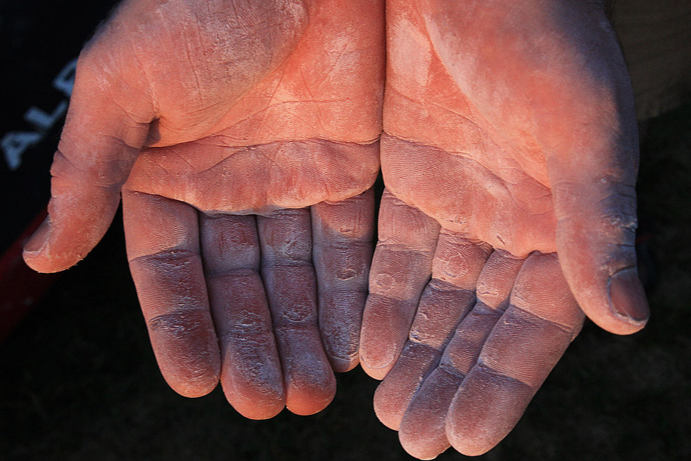 Your hands can take a beating bouldering on rough rock. Photo by David Flanagan., 164 kb