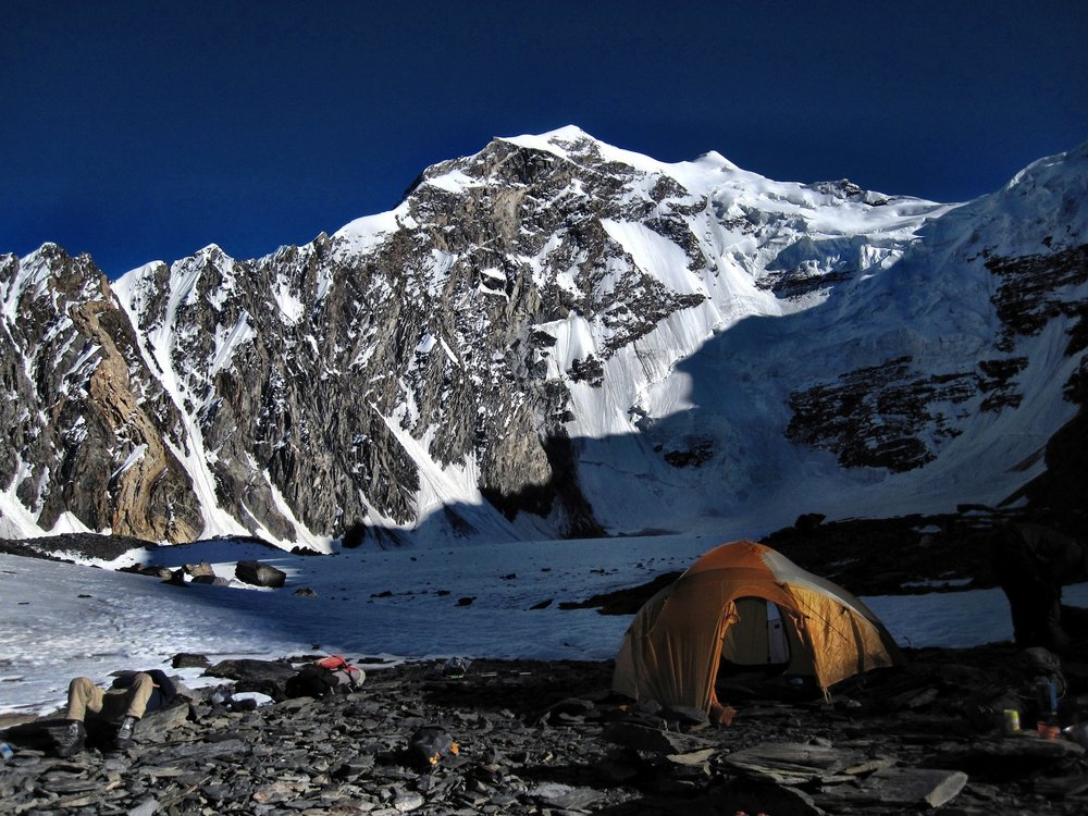 Base Camp, 4800m. Koh e Qara Jilga summit lies at the snowy tip beyond the face., 184 kb