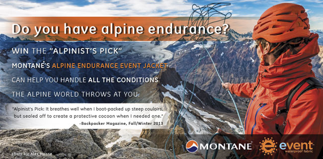 COMPETITION: Win a MONTANE® Alpine Endurance eVent® Jacket, 80 kb