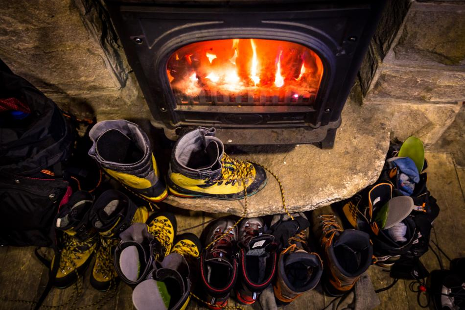 Drying boots after a long day in the winter hills, 99 kb