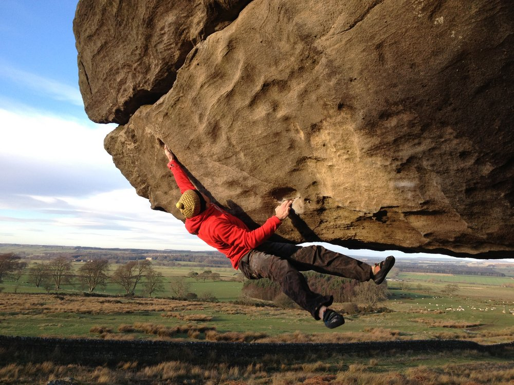 Joe Wilson on the first ascent of Bloodsport LH, 180 kb