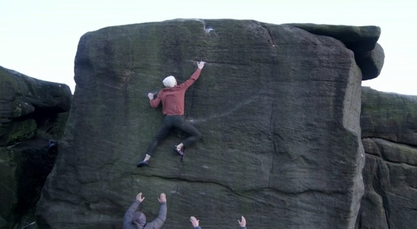 Ty Landman on the FA of Smiling Buttress, Curbar, 51 kb