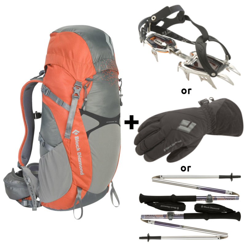 First Ascent DEAL OF THE MONTH: Black Diamond Axiom 30 Pack and Serac Crampons, Distance FL Poles or Glissade Gloves, 84 kb