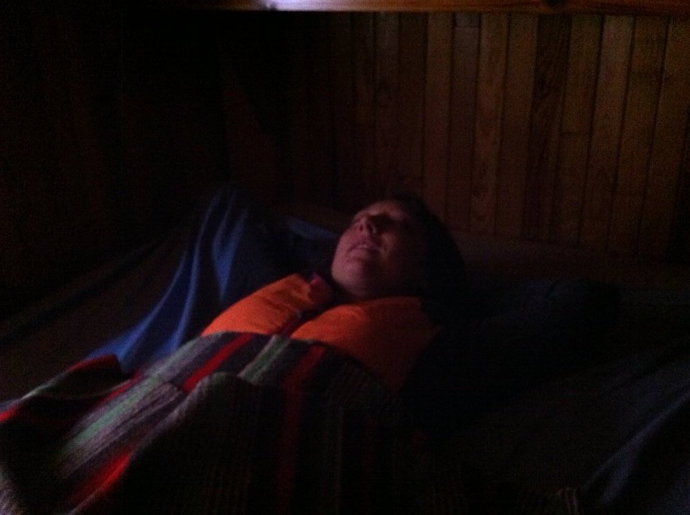 A warm night in a mountain hut - the jacket is comfortable enough for sleeping, 74 kb