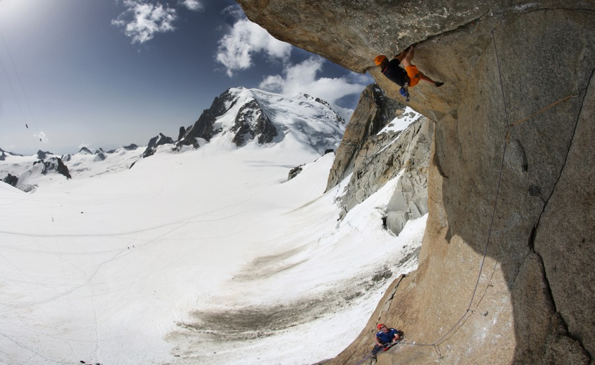Dougal Tavener climbing Ma Dalton, a 7b+ roof crack on the Aiguille du Midi, France, 129 kb