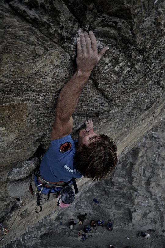 Dougal redpointing a steep 8b at the huge Sarre Roof, Aosta Valley, Italy, 100 kb