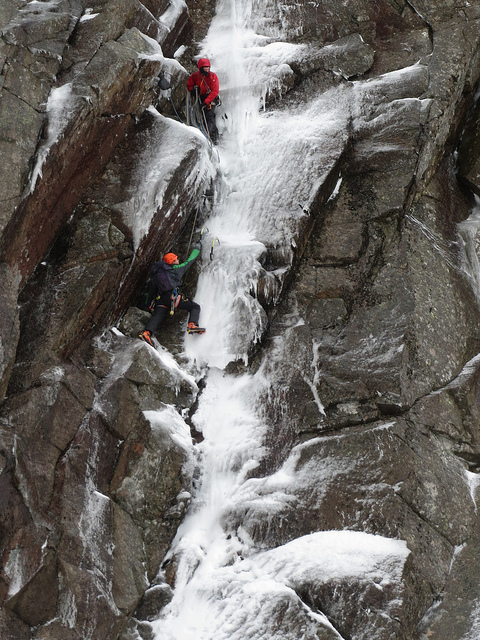 Uisdean (in red) belays his father Doug on the first winter ascent of Giant, Creag an Dubh Loch, 215 kb