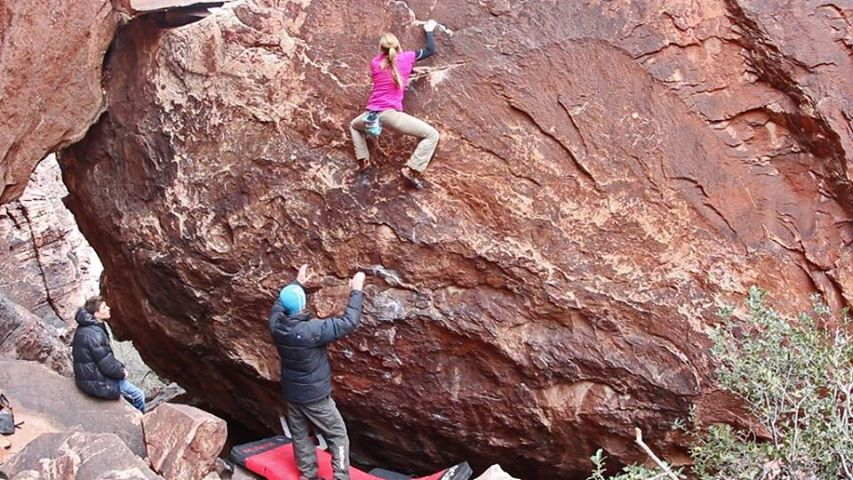 Katharina Saurwein on Lethal design, ~8A+, Red Rocks, Nevada, 117 kb