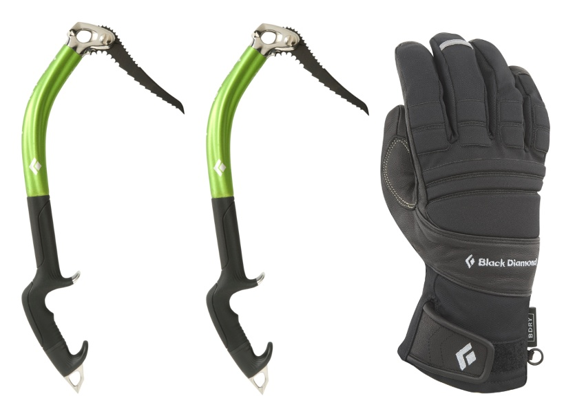 Black Diamond Fusion Ice Axe Pair and Punisher Gloves