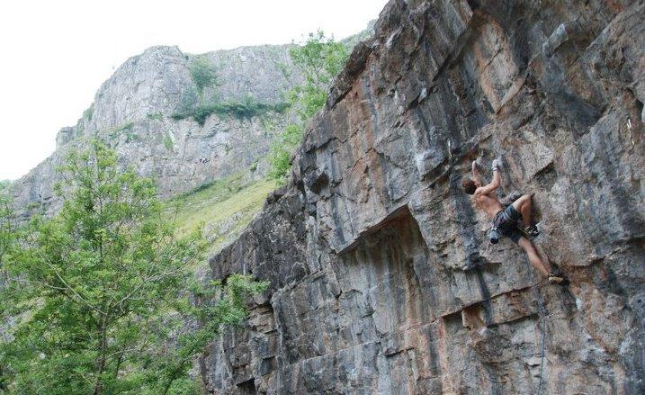 Robin O'Leary on Insatiable, 7b+, Cheddar Gorge, 94 kb