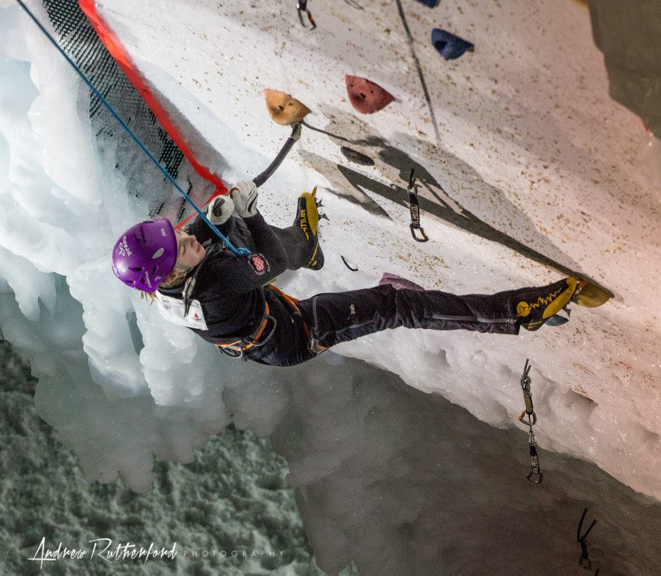 Emma on the hideous stein pull on the final route of the UIAA World Youth Ice Championships 2014, 141 kb