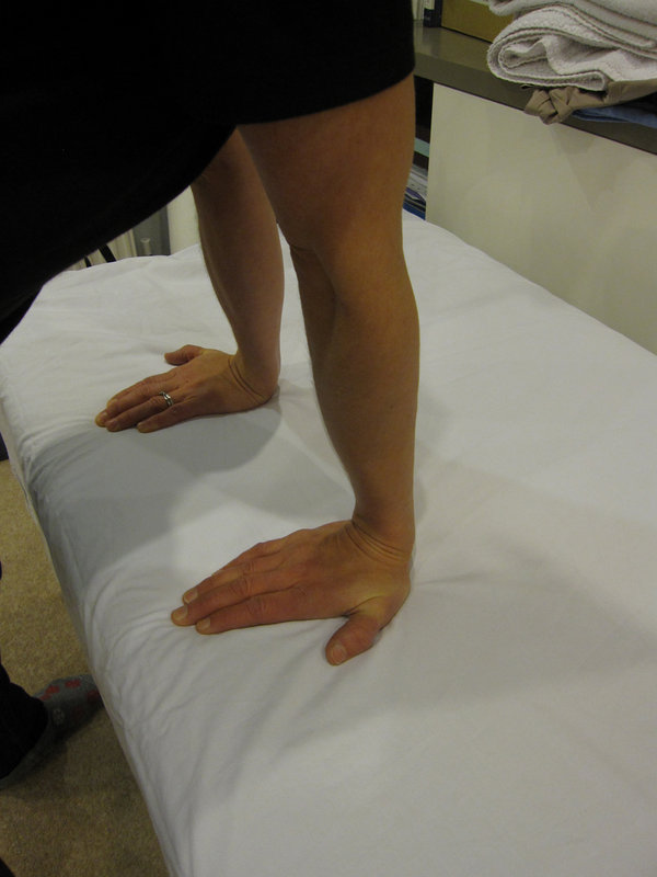 b) Wrist Flexor with fingertips on table, 65 kb