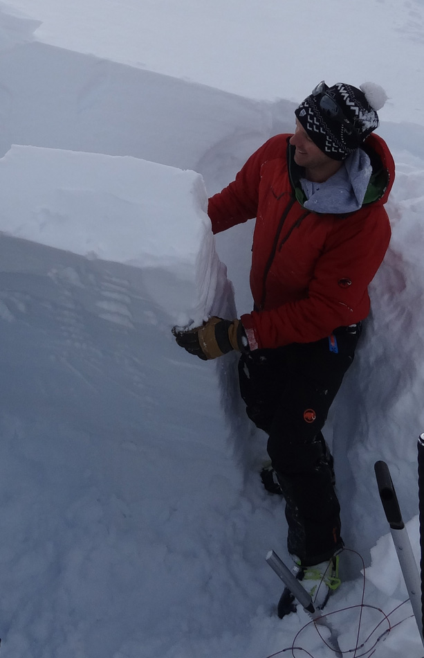 Wearing the Mammut Nordwand Pros during a snow stability test., 120 kb
