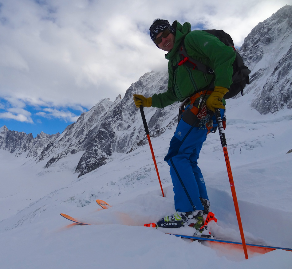 Taking the Mountain Equipment Tupilaks for a spin on the Argentiere Glacier. , 229 kb