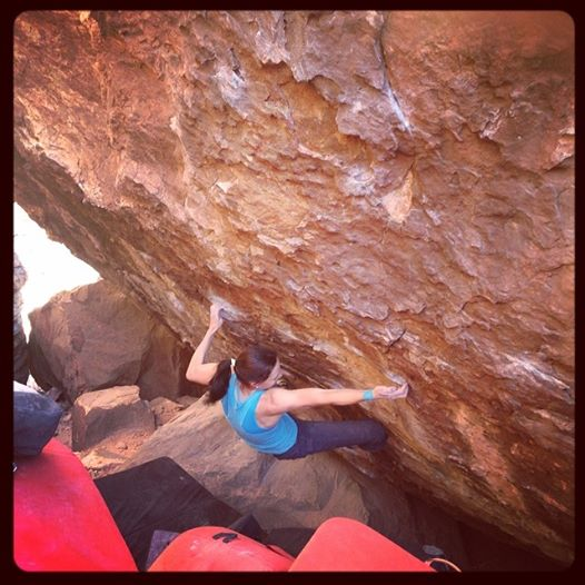 Katharina Posch on Lethal design, ~8A+, Red Rocks, Nevada, 56 kb