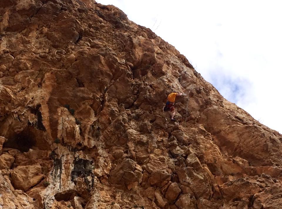 Ellis on his onsight attempt on Talmania Extension 8a, El Chorro, 113 kb