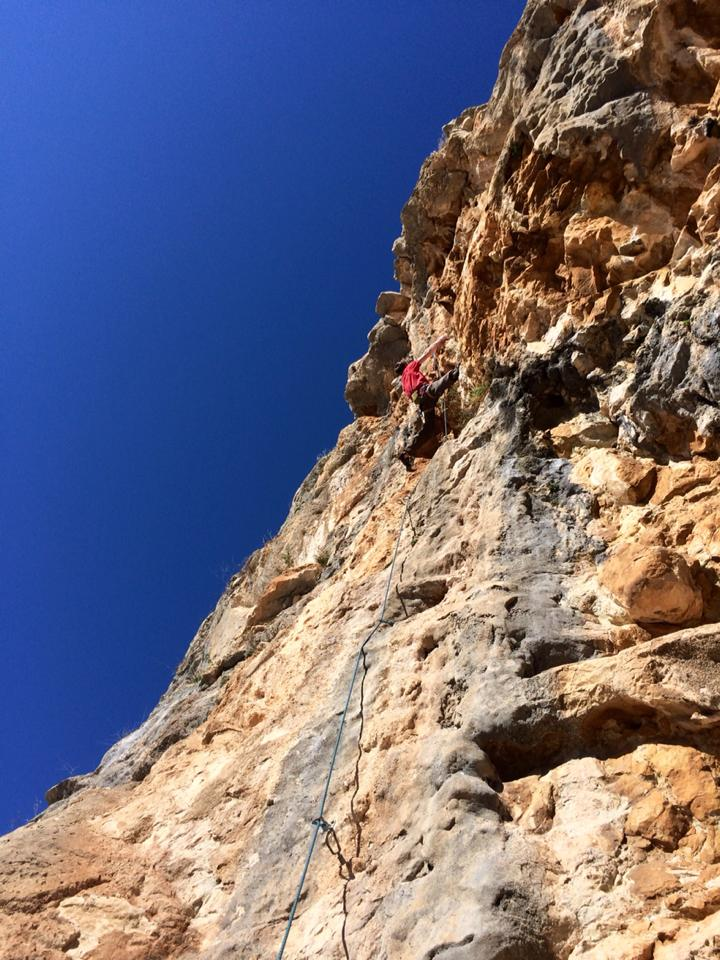 Ellis enjoying warm rock in El Chorro, 126 kb